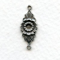 Floral Connector 3mm Setting Oxidized Silver (12)
