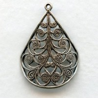 Filigree Fan Shapes Oxidized Silver 28mm
