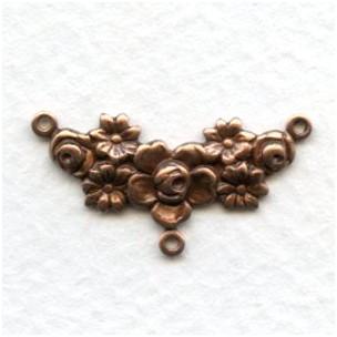 Floral Design Three Loop Connectors Oxidized Copper (6)