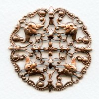 Ornately Detailed Round Filigree Stamping Oxidized Copper (1)