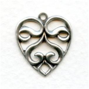 Heart Shaped Pendants Oxidized Silver 21mm (6)