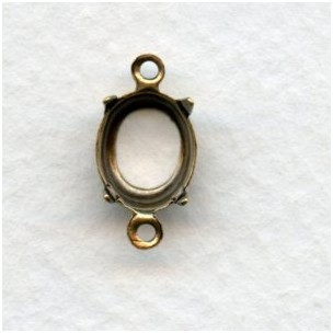 Open Back Setting Connectors 10x8mm Oxidized Brass (12)
