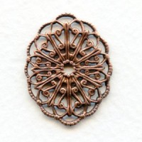 Filigree Ornate Oval 29x22mm Oxidized Copper (6)