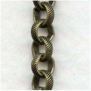 Rolo Chain Textured 5mm Links Oxidized Brass (3 ft)