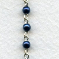 ^Blue Iris Pearl 4mm Beads Rosary Chain Silver Linkage (1 ft)