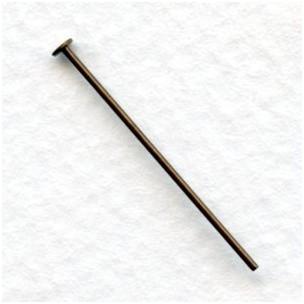 Head Pins 1 Inch Oxidized Brass 21 Gauge (100)