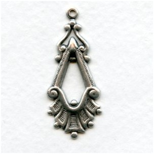 Fancy Pendant Style Drops 37mm Oxidized Silver (12)
