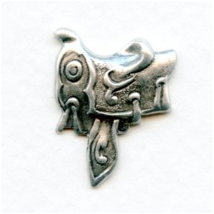 ^Saddle Stampings Oxidized Silver 18mm (6)