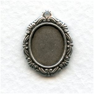 Ornate Detailed Setting 12x10mm Oxidized Silver (12)
