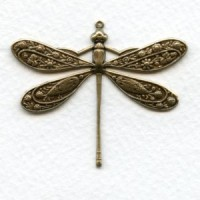 Victorian Style Dragonfly Oxidized Brass 41mm (1)