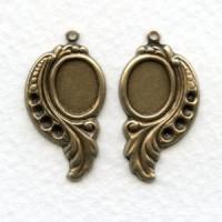 Leaf Settings 10x8mm and Rhinestones Oxidized Brass (6 sets)