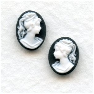 Cameos Girl in a Ponytail White on Black 10x8mm (12)