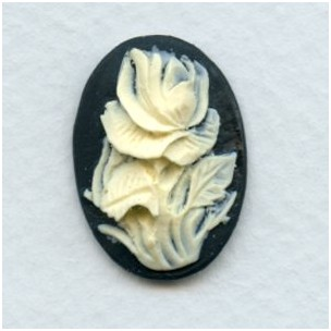 ^Cameos Ivory Rose on Black Background 25x18mm