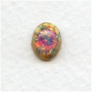 Pink Fire Glass Opal Handmade Cabochons 10x8mm