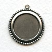 Beaded Edge Pendant Settings 18mm Oxidized Silver (6)