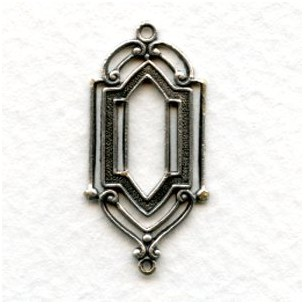 Stained Glass Window Style Connector Oxidized Silver (6)