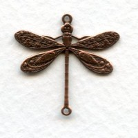 Victorian Style Dragonfly Connectors Oxidized Copper 24mm (6)
