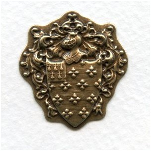 Royal Knight Crest Oxidized Brass Stampings (6)