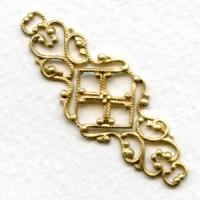 Feminine Filigree Ornate Connector 45mm Raw Brass (6)
