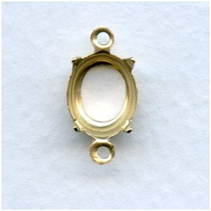 Open Back 10x8mm Setting Connectors Raw Brass (12)