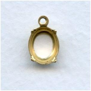 ^Oval 10x8mm Open Back Settings Raw Brass (12)