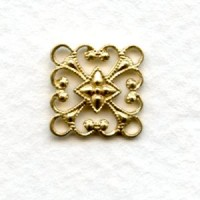 Square 12mm Filigree Connector Raw Brass (12)