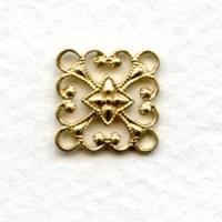Square 12mm Filigree Connector Raw Brass (12)