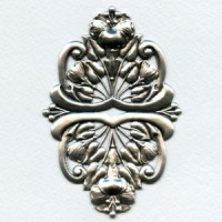 Floral Oval Stamping Oxidized Silver 95mm (1)