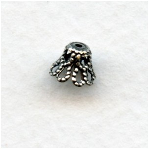 Bell Shape Filigree Bead Caps 7mm Oxidized Silver (50)