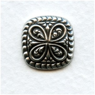 Intricate Cushion Square 15mm Oxidized Silver (12)