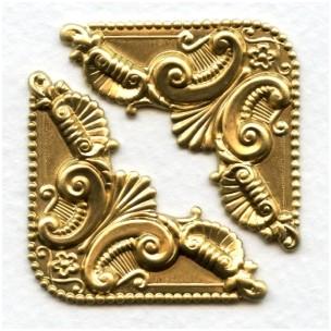 Ornate Corner Flourish Raw Brass Stampings (4)