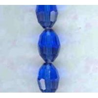 ^Oval Faceted Glass Beads Sapphire 11x8mm