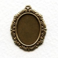 Ornate Detailed Setting 18x13mm Oxidized Brass (6)