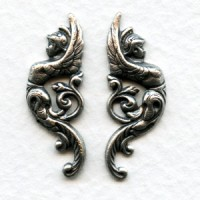Winged Goddess Warrior Flourishes Oxidized Silver (1 set)