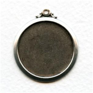 Elegant Simple Setting Pendants 25mm Oxidized Silver (3)