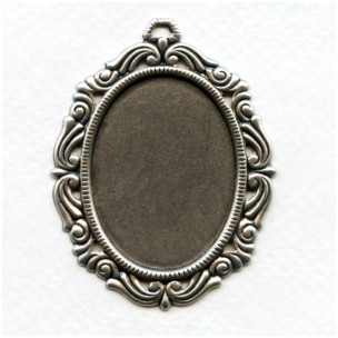 Ornate Style Settings 40x30mm Oxidized Silver (2)