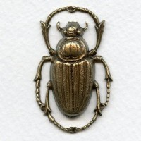 Egyptian Influence Scarab Beetle Oxidized Brass (1)