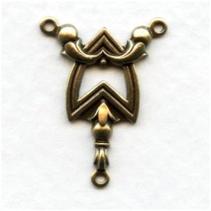 Elaborate Chevron 3 Loop Connectors Oxidized Brass (2)