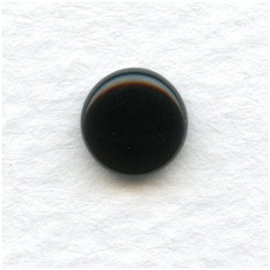 Jet Glass Cabochons Round Buff-Tops 7mm