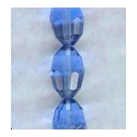 Oval Faceted Glass Beads Light Sapphire 11x8mm