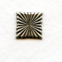 Fluted Square Embellishments 9mm Oxidized Silver