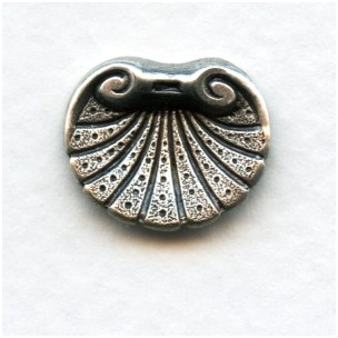 Detailed Shell Oxidized Silver Ornamentation 17mm