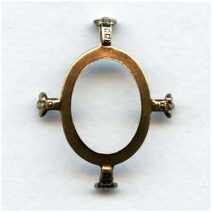 Open Back Turtle Prong Settings 25x18mm Oxidized Brass (3)
