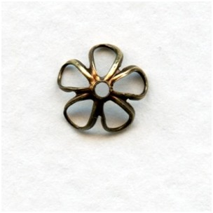 Retro Flower Power Bead Caps 7.5mm Oxidized Brass (24)