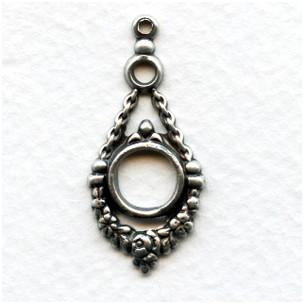Louis XIV Style Oxidized Silver Pendant Drops (6)