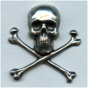 Large Skull and Crossbones Oxidized Silver 55mm (1)