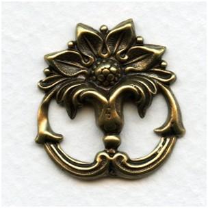 Art Nouveau Style Embellishment 27mm Oxidized Brass