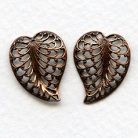 Filigree Leaves with Hole 20mm Oxidized Copper (3 sets)