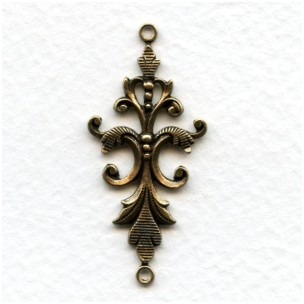 Fancy Victorian Style 40mm Connectors Oxidized Brass (4)