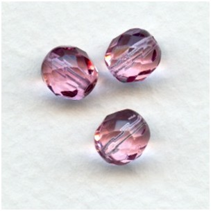 Cranberry Fire Polished Round Faceted Beads 8mm
